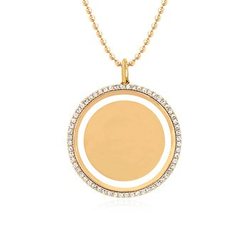 Diamond & White Enamel Disc Necklace