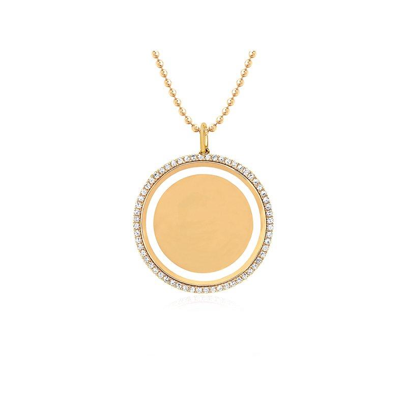 EF Collection Diamond & White Enamel Disc Necklace