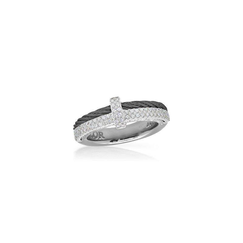 ALOR Black Cable Petite Opulence Ring