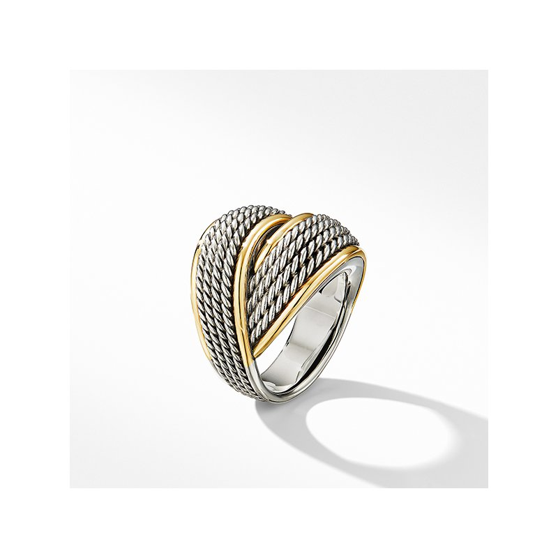 David Yurman DY Origami Crossover Ring with 18K Yellow Gold