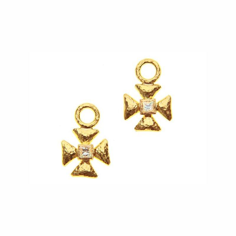 Elizabeth Locke Small Maltese Cross Diamond Earring Charms