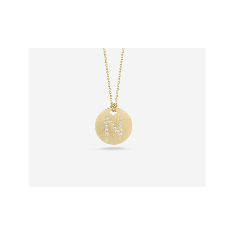 """Roberto Coin Disc Pendant with Diamond Initial """"N"""""""