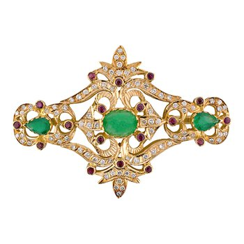 Emerald, Ruby, & Diamond Brooch