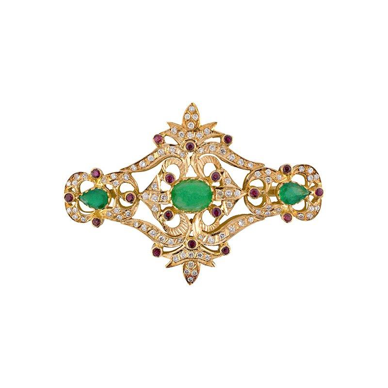 Estate Radcliffe Emerald, Ruby, & Diamond Brooch