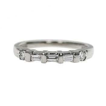 Half Round & Baguette Diamond Band