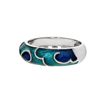 Blue Enamel Cloud Ring