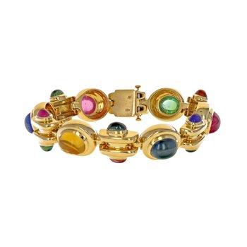 Multicolor Cabochon Link Bracelet