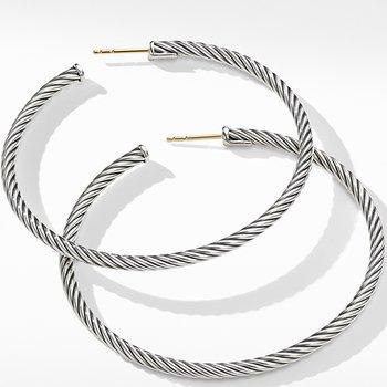 Large Cable Hoop Earrings