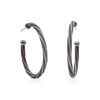 Blueberry & Carnation Twisted Cable Hoop Earrings