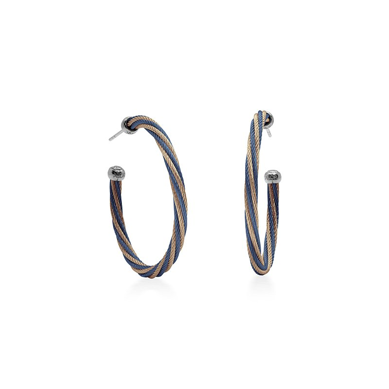 ALOR Blueberry & Carnation Twisted Cable Hoop Earrings