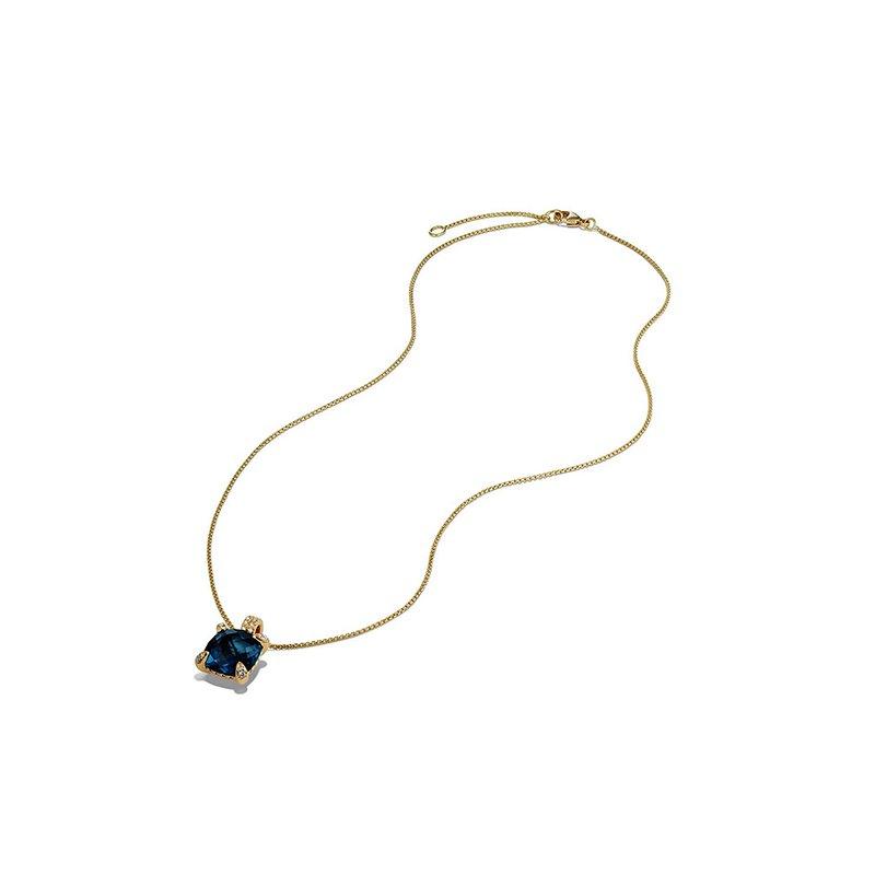 David Yurman Pendant Necklace with Hampton Blue Topaz and Diamonds in 18K Gold