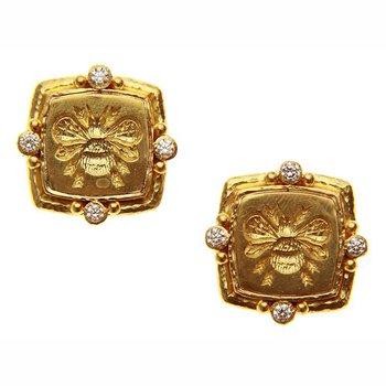 "Gold ""Bee"" and Diamond Earrings"