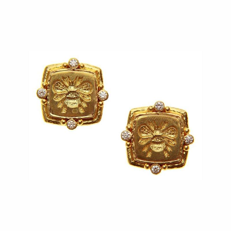"""Elizabeth Locke Gold """"Bee"""" and Diamond Earrings"""