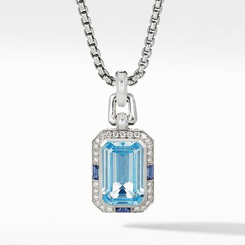 Novella Pendant with Blue Topaz, Sapphires and Pave Diamonds