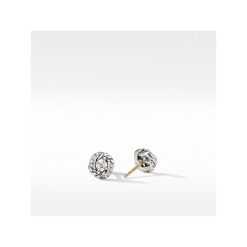 David Yurman Petite Infinity Stud Earrings with Diamonds