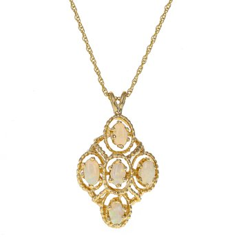 Diamond Shaped Opal Necklace