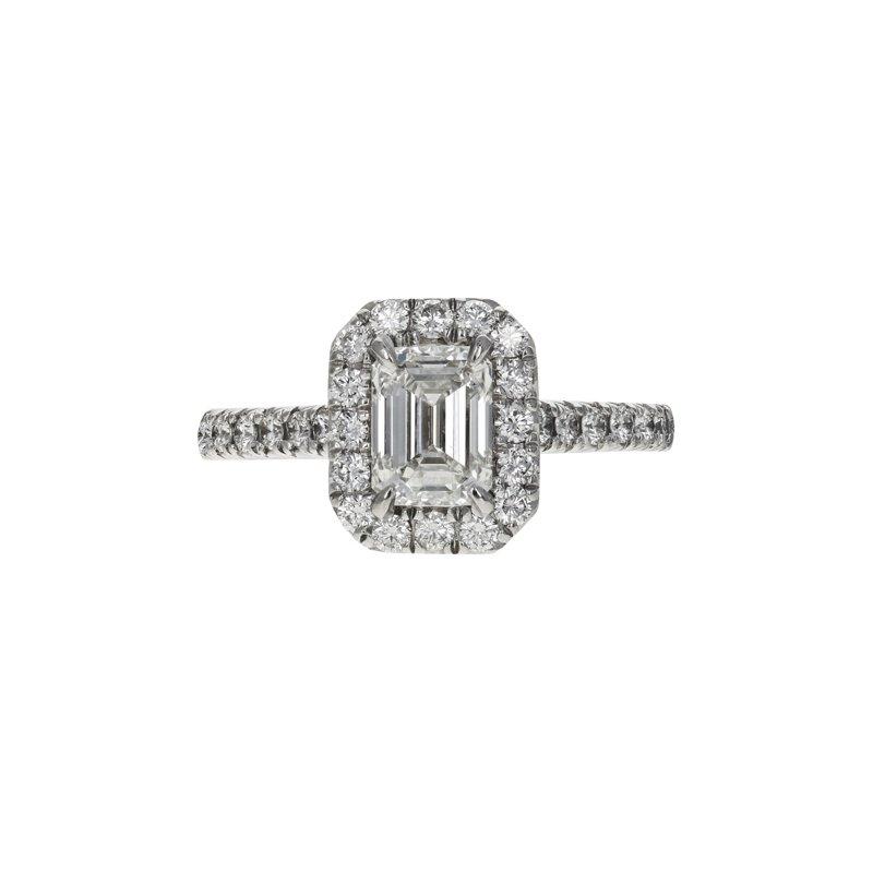 Estate Radcliffe Emerald Cut Diamond Halo Ring