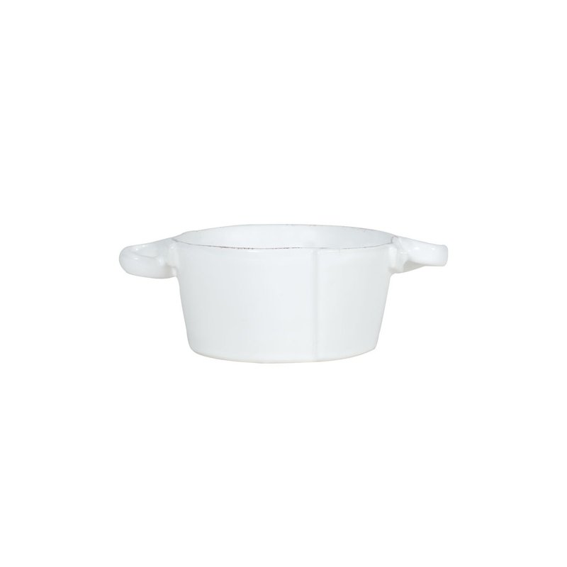 Vietri Lastra White Small Handled Bowl