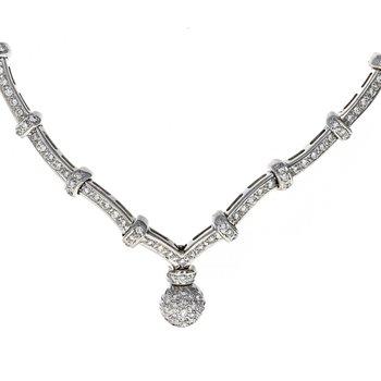 Scalloped Diamond Drop Necklace