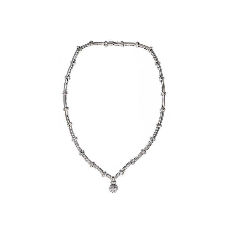 Estate Radcliffe Scalloped Diamond Drop Necklace