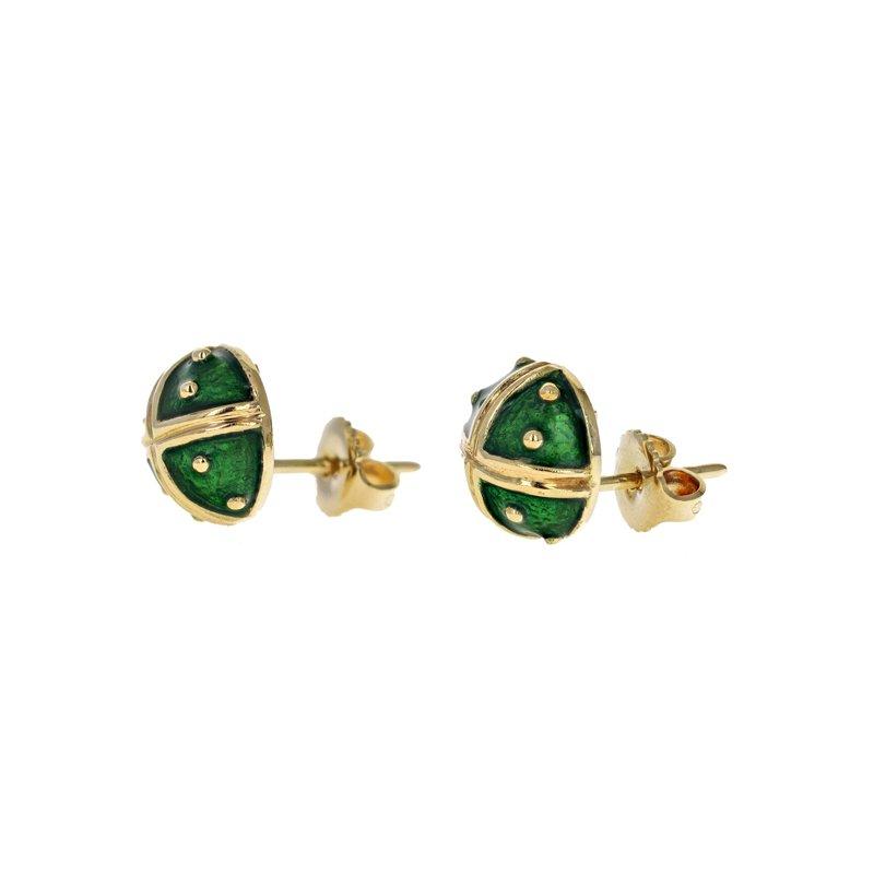Estate Hidalgo Domed Green Enamel Earrings