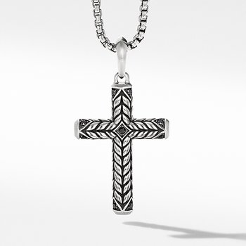 Chevron Sculpted Cross with Pave Black Diamonds