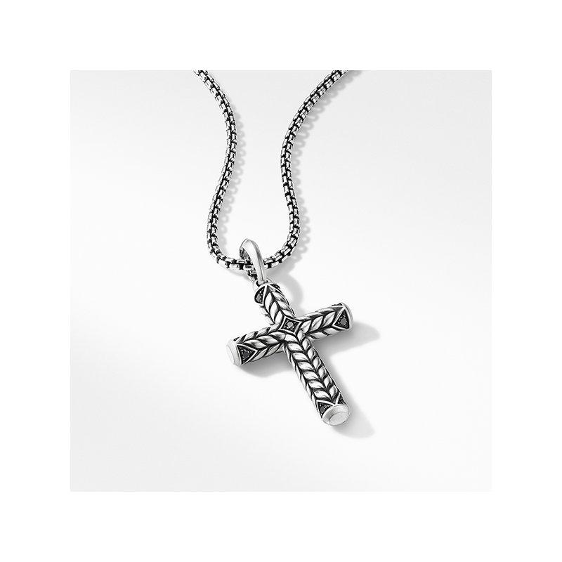 David Yurman Chevron Sculpted Cross with Pave Black Diamonds