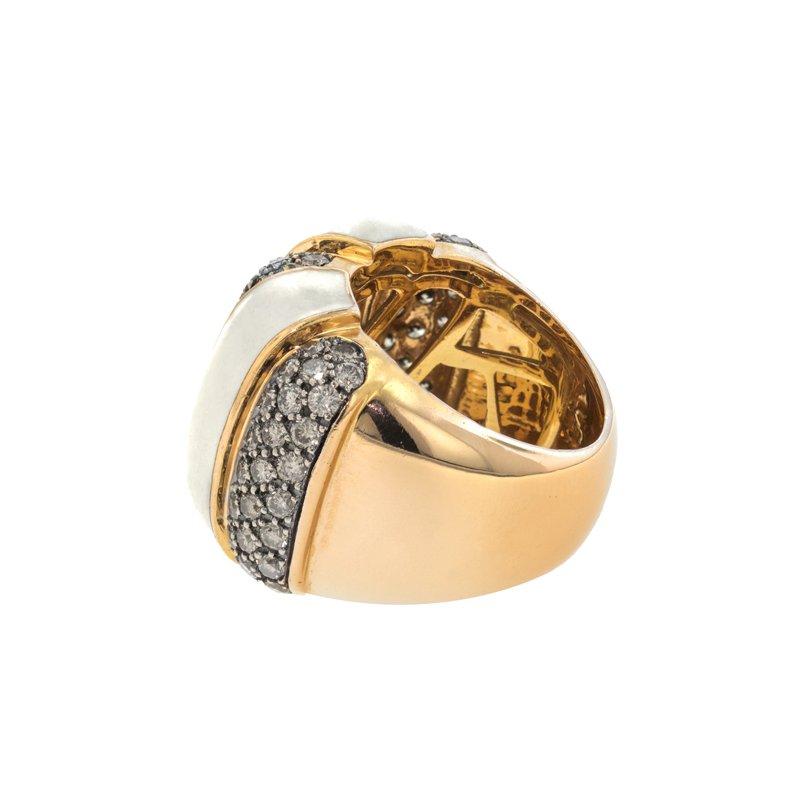 Estate Spanish Damaso Brown Diamond & Enamel Ring