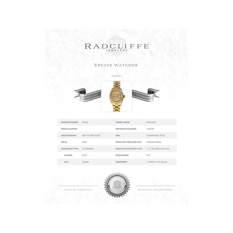 Pre-Owned Rolex Datejust (Ref. 179178)