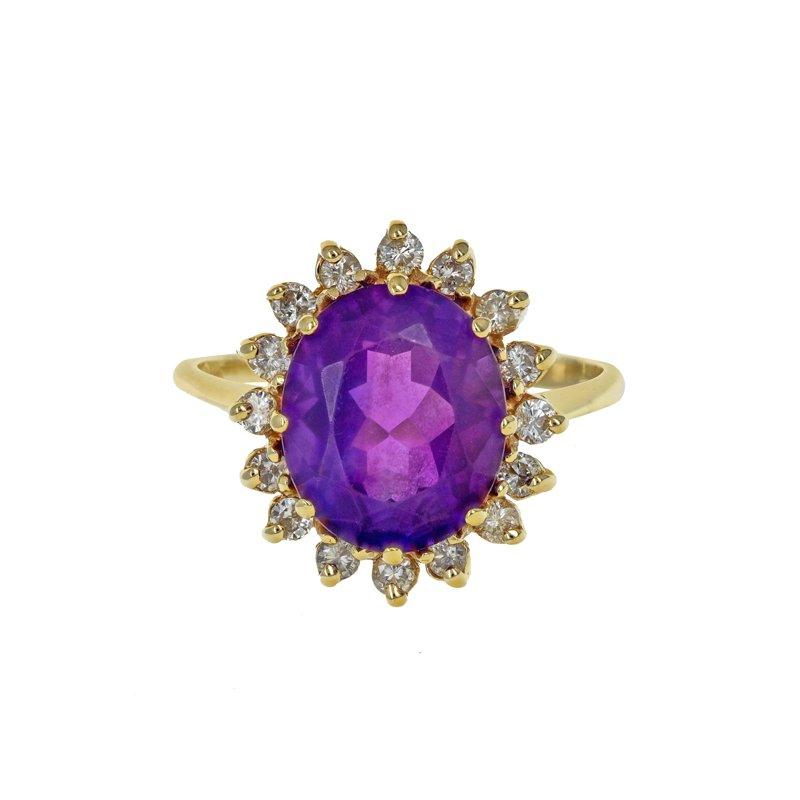 Estate Radcliffe Amethyst & Diamond Halo Ring