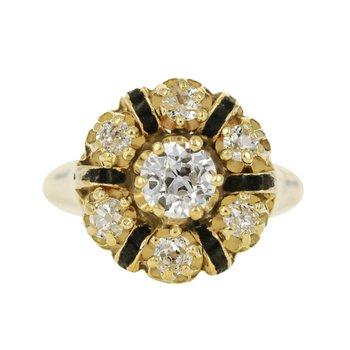 Enamel and Diamond Ring
