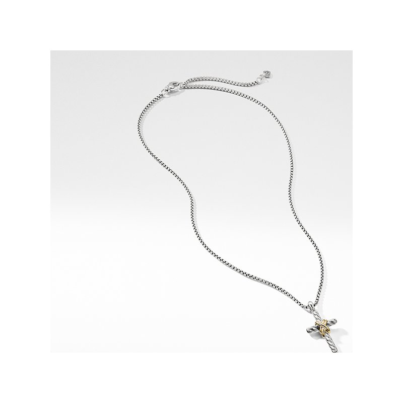 David Yurman X Cross Necklace with Gold