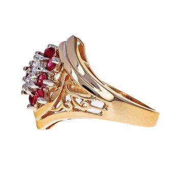 Diamond & Ruby Shield Ring