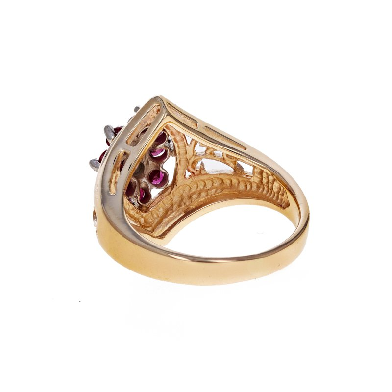 Estate Radcliffe Diamond & Ruby Shield Ring
