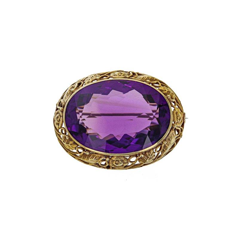 Estate Radcliffe Oval Amethyst brooch