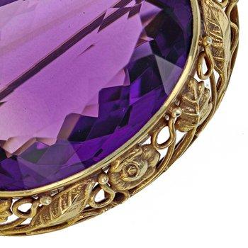 Oval Amethyst brooch