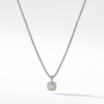 Pendant Necklace with White Topaz and Diamonds