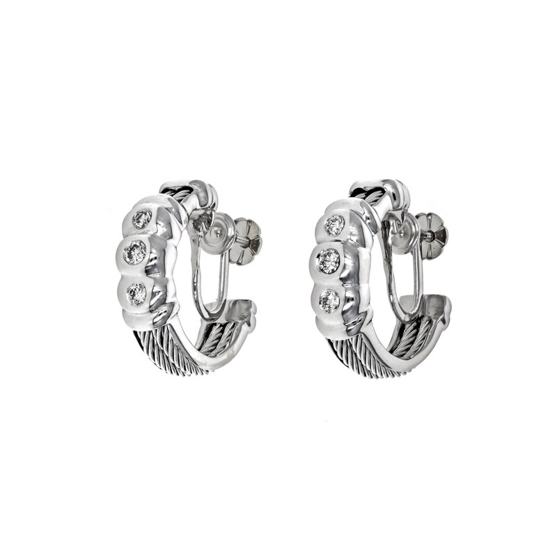 Estate Charriol Diamond Cable Earrings