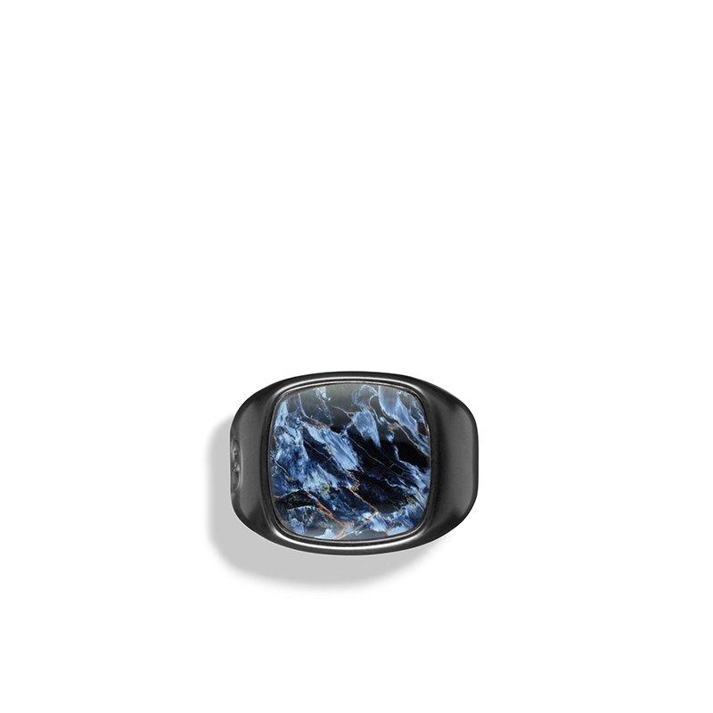 David Yurman Exotic Stone Ring with Pietersite in Black Titanium