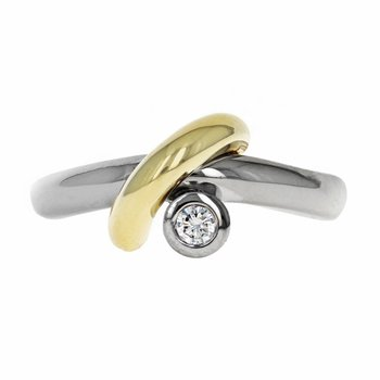 Asymmetrical Two-Tone Diamond Ring