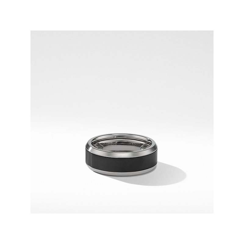 David Yurman Beveled Band Ring in Grey Titanium with Black Titanium