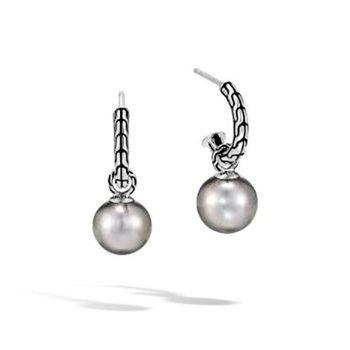 Classic Chain Drop Earring with Tahitian Pearl