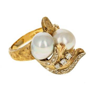 Diamond & Pearl Leaf Ring