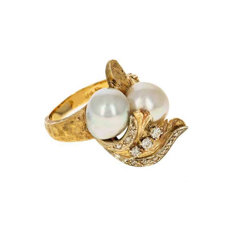 Estate Radcliffe Diamond & Pearl Leaf Ring