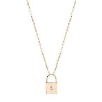 Diamond Padlock Necklace