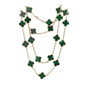 Vintage Alhambra Malachite Necklace
