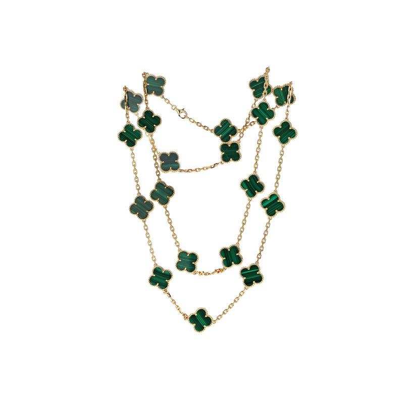 Estate Van Cleef & Arpels Vintage Alhambra Malachite Necklace