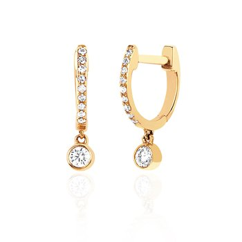 Diamond Mini Huggie Earrings with Bezel Drop