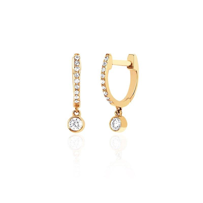 EF Collection Diamond Mini Huggie Earrings with Bezel Drop