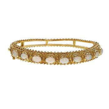 Beaded Opal Bangle Bracelet